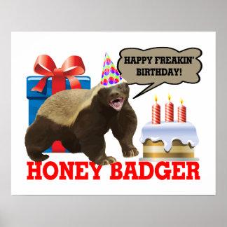 Honig-Dachs glücklicher Freakin Geburtstag Poster