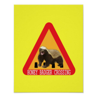 Honig-Dachs-Überfahrt-Zeichen - gelber Hintergrund Posterdruck