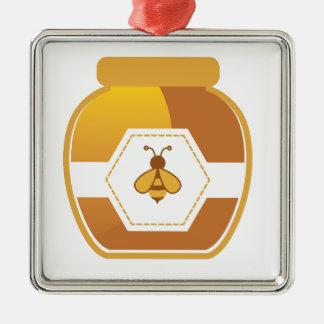 Honig-Glas Quadratisches Silberfarbenes Ornament
