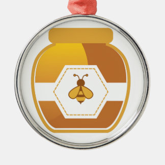 Honig-Glas Rundes Silberfarbenes Ornament