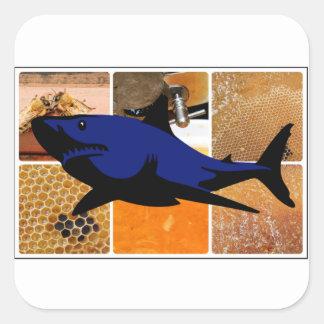 Honig-Haifisch Quadratischer Aufkleber