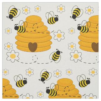 Honig-Hummel-Bienen-Bienenstock-sonniges gelbes Stoff