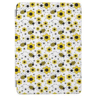 Honig-Hummel-Bienen-Hummel-Mädchen-Gelb mit Blumen iPad Air Hülle