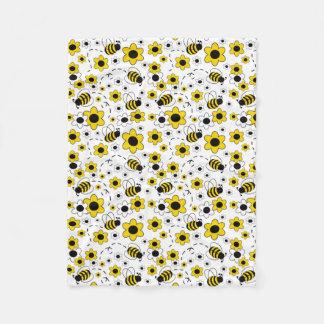 Honig-Hummel-Bienen-Hummel-weißes gelbes Blumen Fleecedecke