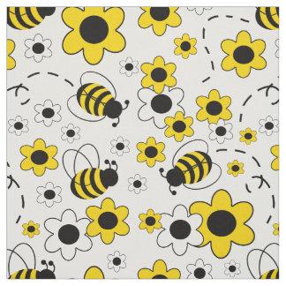 Honig-Hummel-Bienen-Hummel-weißes gelbes Blumen Stoff