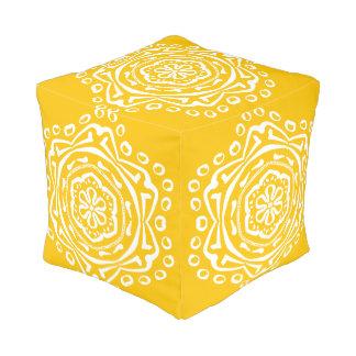 Honig-Mandala Kubus Sitzpuff