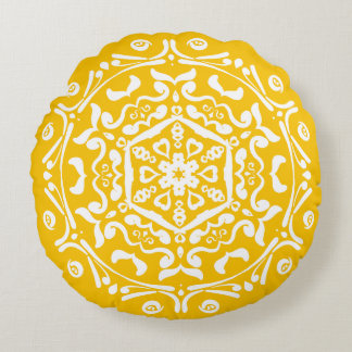 Honig-Mandala Rundes Kissen
