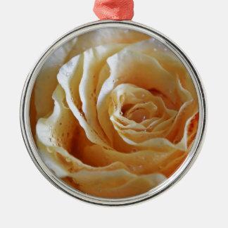 Honig-Pfirsich-Rose Rundes Silberfarbenes Ornament