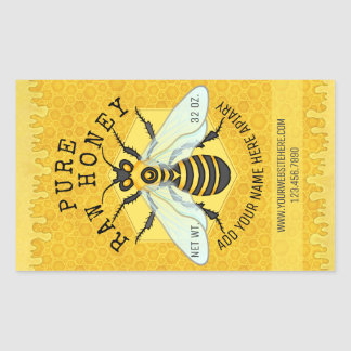 Honigbienen-Honig-Glas-Bienenhaus beschriftet | Rechteckiger Aufkleber