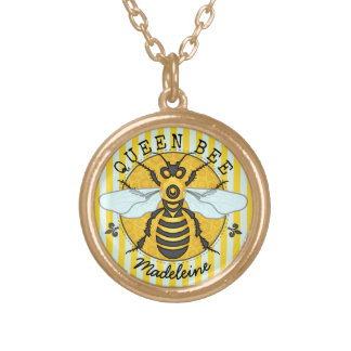 Honigbienen-Hummel-Königin-Bienen-Honig | Vergoldete Kette