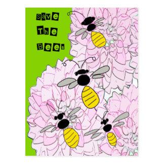 Honigbienen über rosa Dahlien Postkarte