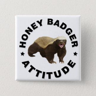 Honigdachs hat Haltung Quadratischer Button 5,1 Cm
