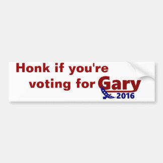 Honk, wenn Sie für GaryAutoaufkleber 2016 wählen Autoaufkleber