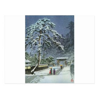 Honmonji Tempel im Schnee - Kawase Hasui 川瀬巴水 Postkarte