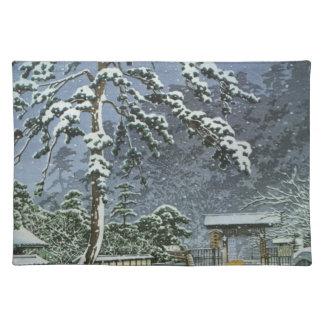 Honmonji Tempel im Schnee - Kawase Hasui 川瀬巴水 Tischset