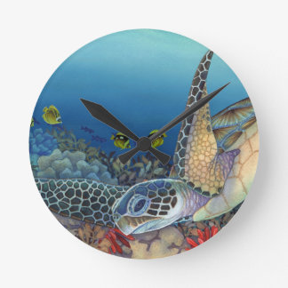 Honu (grüne Meeresschildkröte) Runde Wanduhr