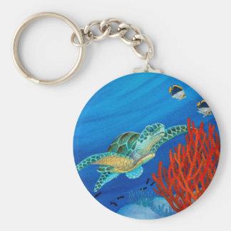Honu und schwarze Koralle Schlüsselanhänger