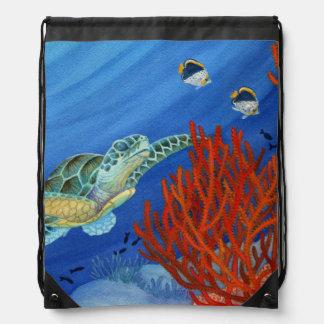 Honu und schwarze Koralle Sportbeutel
