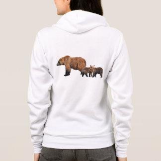 Hoodie mit zwei Grizzlybärjungen plus Mamma