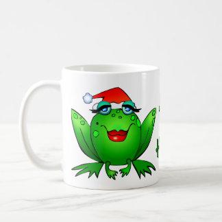 Hopfenreiche Feiertags-Dame Frog Mug Green Text Kaffeetasse