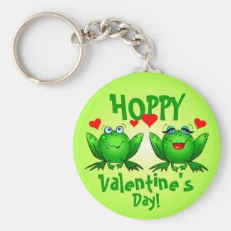 Hopfenreicher Valentinstag-niedliches Frosch-Grün Schlüsselanhänger