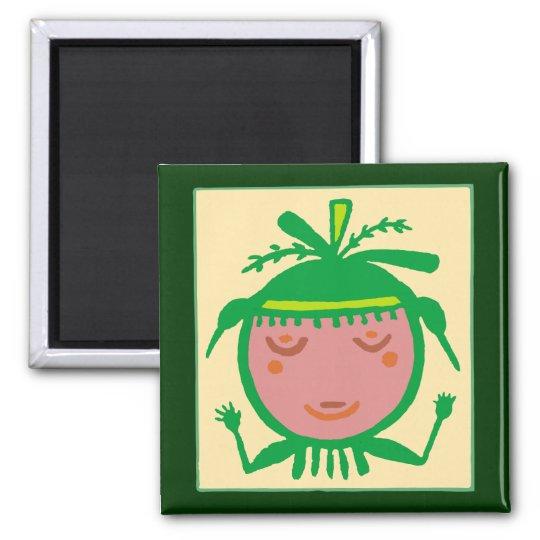 Hopi Erdfrau earth woman Quadratischer Magnet