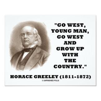 Horaz Greeley gehen junger Westmann gehen nach 10,8 X 14 Cm Einladungskarte