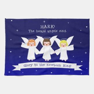 Horchen Sie! The Herald -Engel singen neugeborenem Geschirrtuch