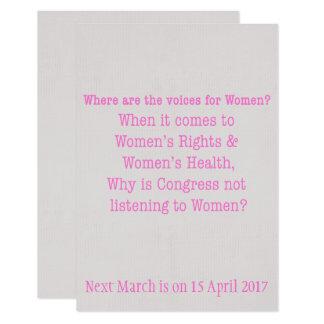 Hören Sie auf Frauen (2017) 8,9 X 12,7 Cm Einladungskarte