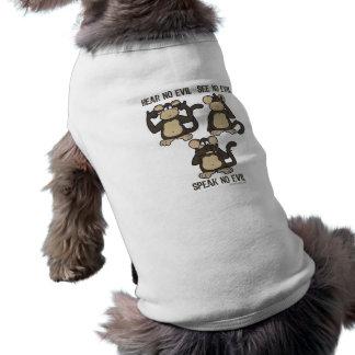 Hören Sie keine neuen Übel-Affen - Ärmelfreies Hunde-Shirt