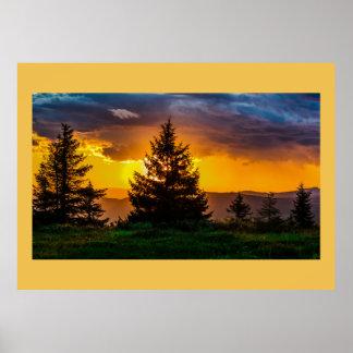 Horizont-Sonnenuntergang-Baum- des Poster