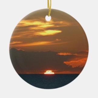 Horizont-Sonnenuntergang-bunte Keramik Ornament