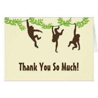 Horizontal - hängender Affe danken Ihnen Mitteilungskarte