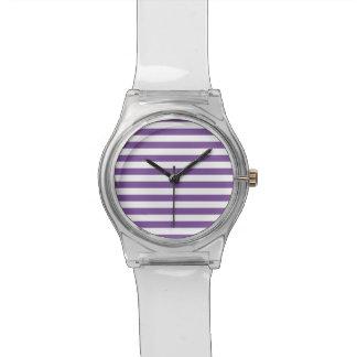 Horizontale lila Streifen Armbanduhr