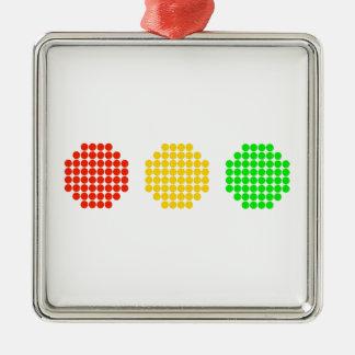 Horizontale Punktstoplight-Farben Silbernes Ornament