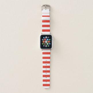 Horizontale rote Streifen Apple Watch Armband