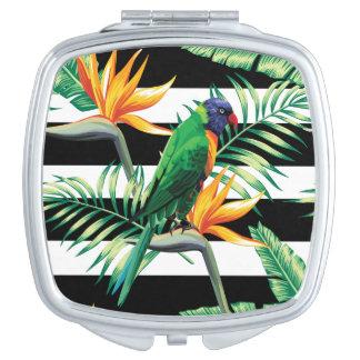 Horizontale Schwarzweiss-Streifen und Vogel Taschenspiegel