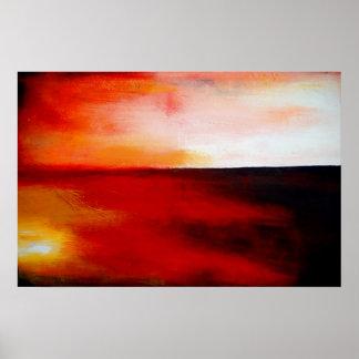 Horizontales rotes abstraktes Rechteck-Kunst-Druck