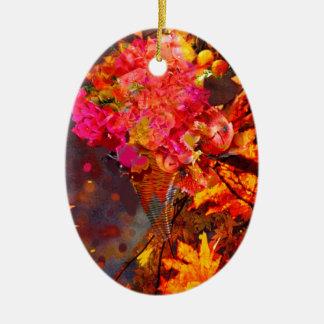Horn mit Blumen zum Erntedank Ovales Keramik Ornament