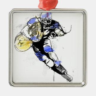 Hornfußball Silbernes Ornament