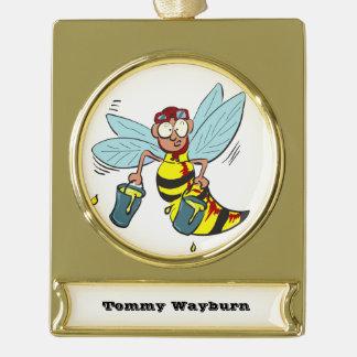 Hornissenwespebiene mit zwei Eimern Honig Banner-Ornament Gold