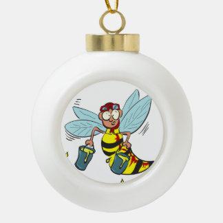 Hornissenwespebiene mit zwei Eimern Honig Keramik Kugel-Ornament