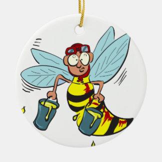 Hornissenwespebiene mit zwei Eimern Honig Keramik Ornament