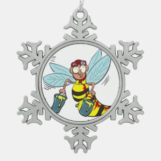Hornissenwespebiene mit zwei Eimern Honig Schneeflocken Zinn-Ornament