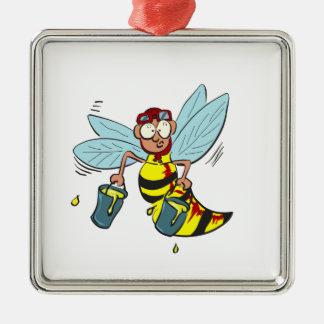 Hornissenwespebiene mit zwei Eimern Honig Silbernes Ornament
