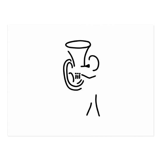 hornist tuba blechblaeser postkarte