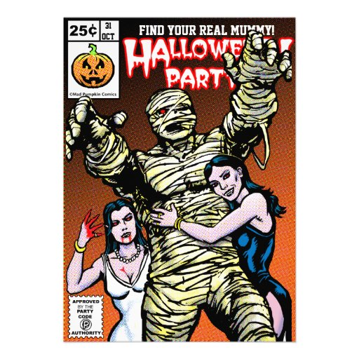 Horror-Comic-Art-Halloween-Party Personalisierte Einladungen