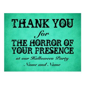 Horror Ihrer Anwesenheit. Grüner Halloween-Dank Postkarte
