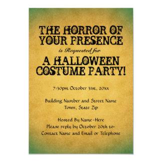 Horror Ihrer Anwesenheit. Halloween-Partei 12,7 X 17,8 Cm Einladungskarte