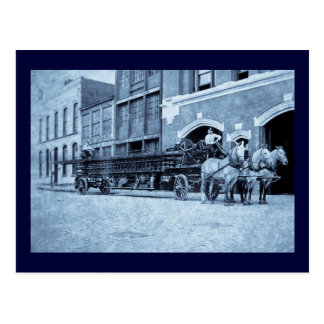 Horse Drawn Hook und Ladder Fire Company Postkarte